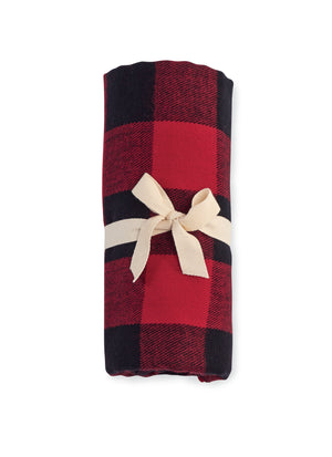 Mud Pie Red Buffalo Check Fringe Blanket