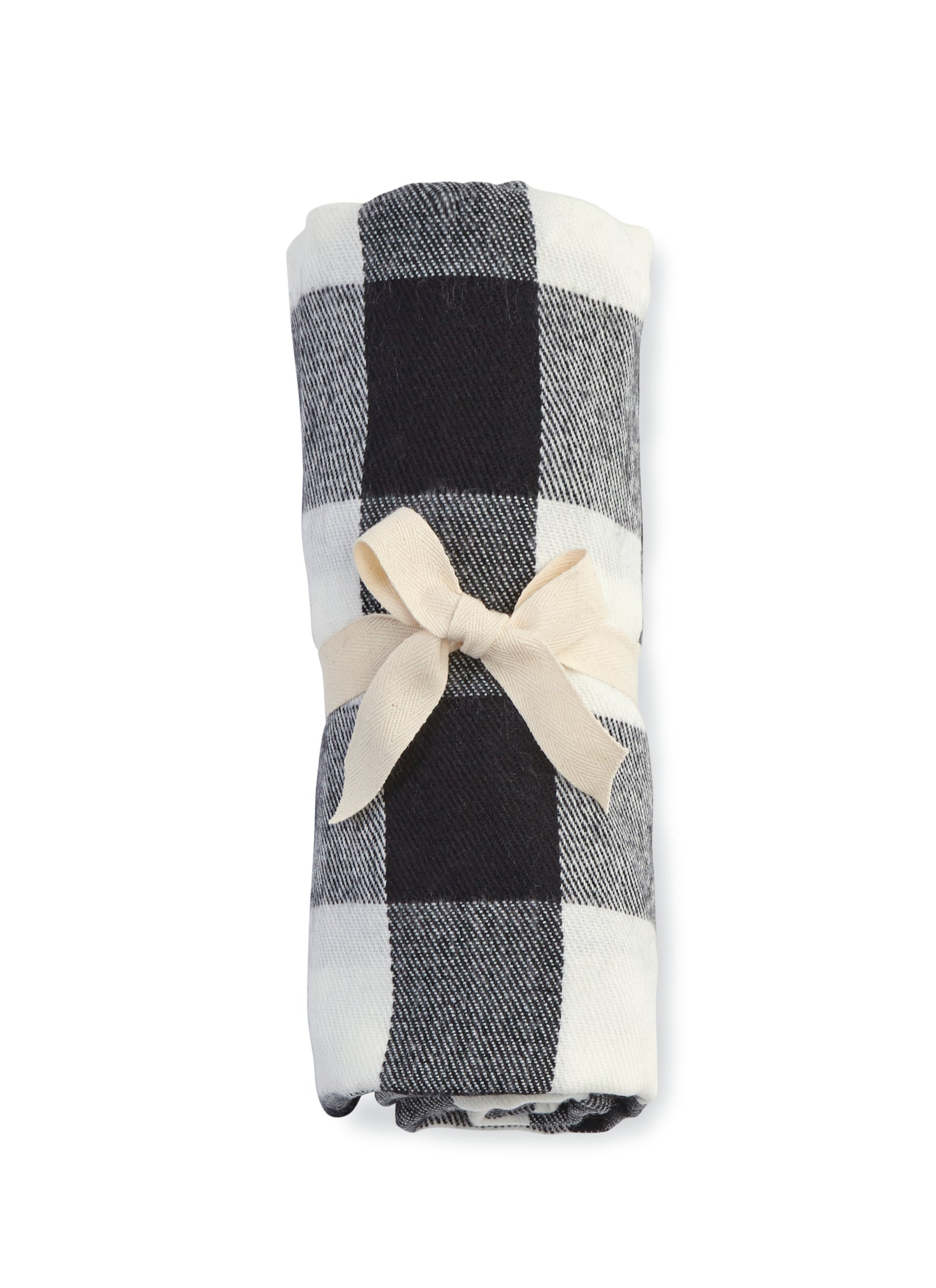 Mud Pie White Buffalo Check Fringe Blanket