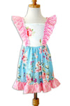 Pink and Blue Flower Ruffle Dress