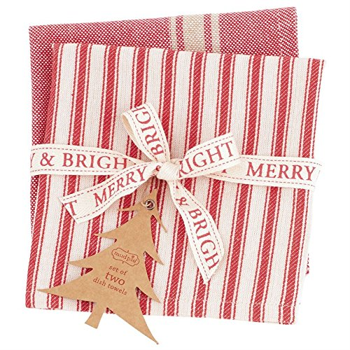 Mud Pie Red Stripe Dish Towel Set