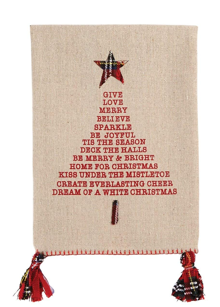 Mud Pie Lyrical Christmas Tree Linen Towel