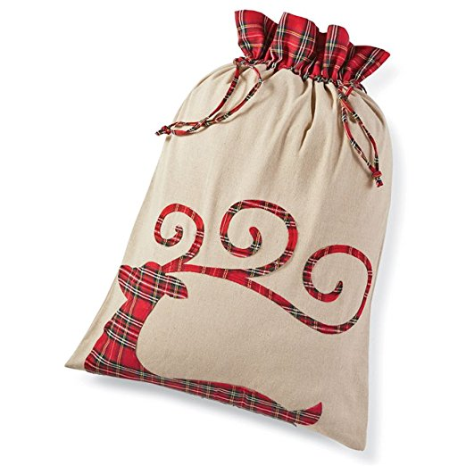Mud Pie Tartan Reindeer Christmas Sack