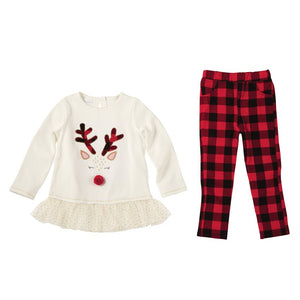 Mud Pie Alpine Reindeer Tunic & Buffalo Check Legging Set