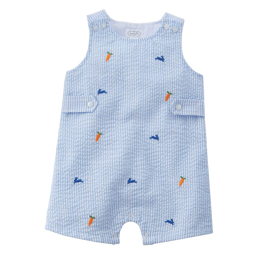 Mud Pie Blue Seersucker Bunny Schiffli Shortall