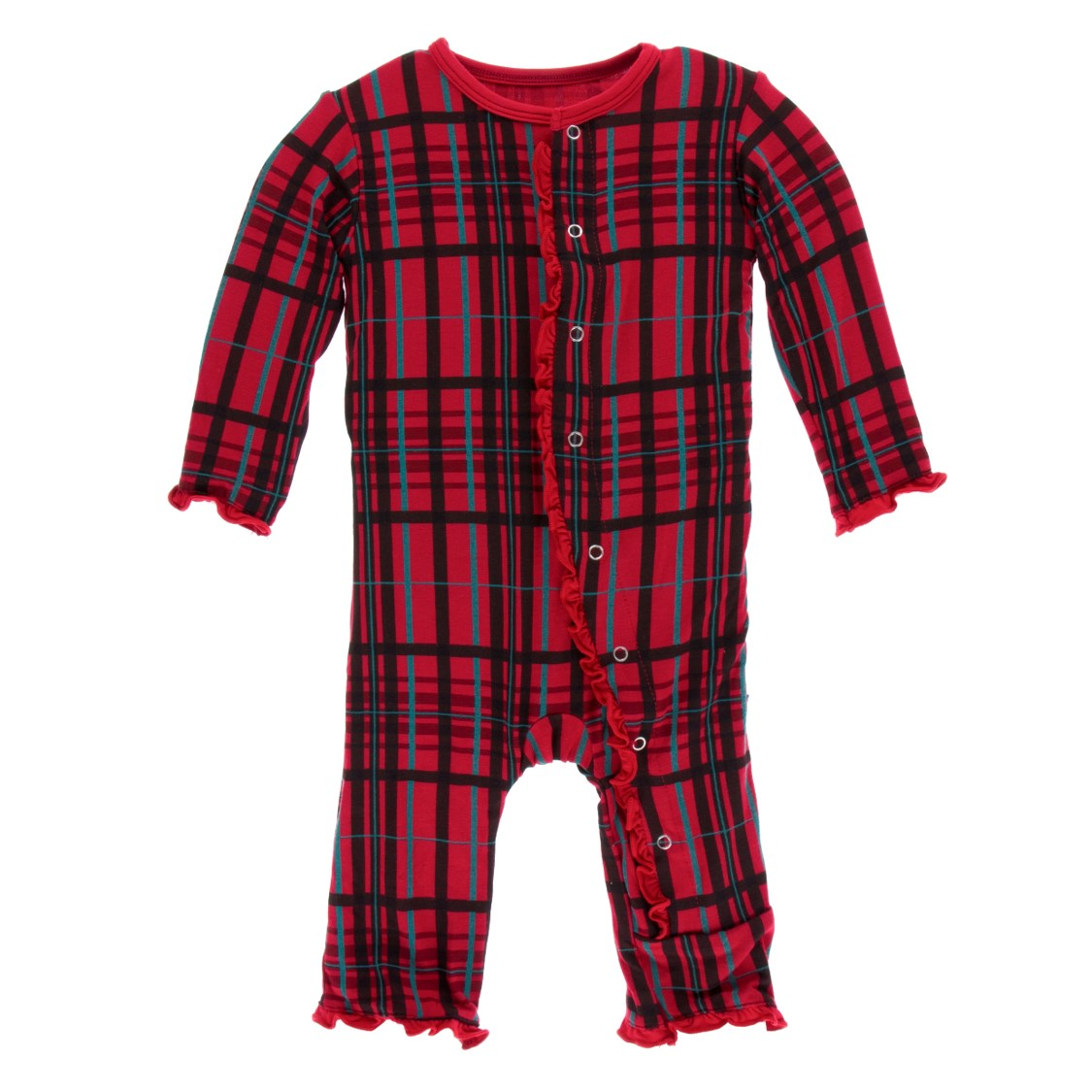 Kickee Pants - Holiday 2018 - Ruffle Coverall – Zipper – Christmas Plaid