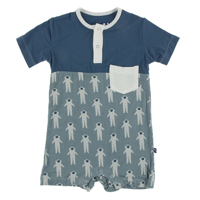 Kickee Pants - Astronomy & Chemistry- Color Block Henley Romper with Pocket – Dusty Sky Astronaut