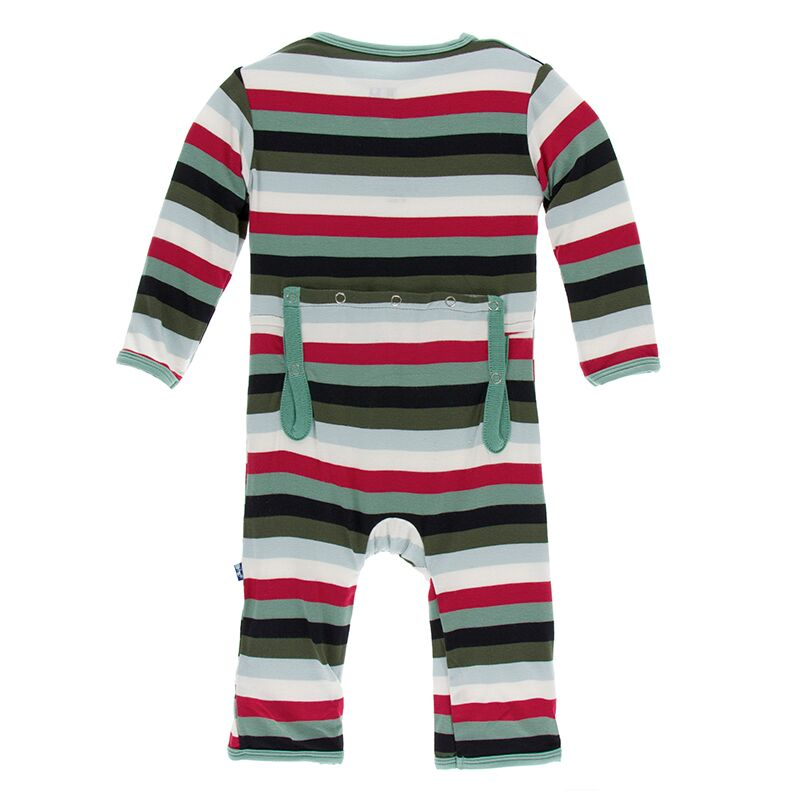 Kickee Pants - Winter Celebrations - Coverall with Zipper – Christmas Multi Stripe
