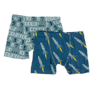 Kickee Pants - Astronomy & Chemistry - Boxer Briefs Set – Dusty Sky Countdown & Twilight Rocket