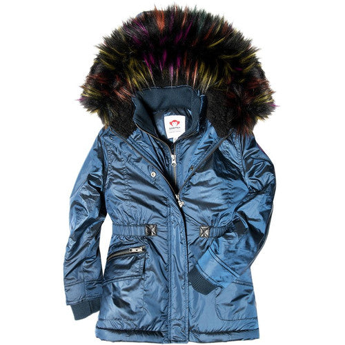 Appaman Girls' Appaman Puffer Coat Faux Fur Hood - Permafrost