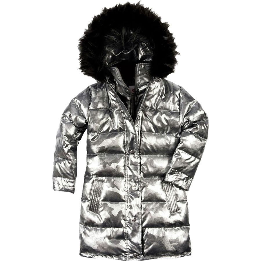 Appaman Girls' Down Coat - Gunmetal Camo