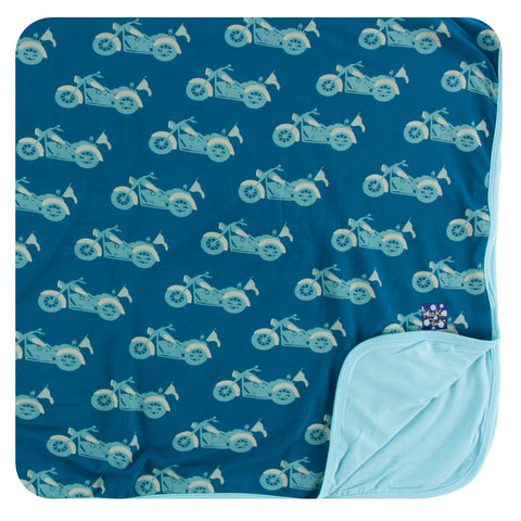 Kickee Pants - Spring 2 2018 - Toddler Blanket - Heritage Blue Motorcycle