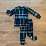 Kozi & Co - Holiday Collection - Pajama Set - Hunter & Gold Plaid