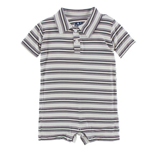 Kickee Pants - India Collection - Polo Romper – India Pure Stripe