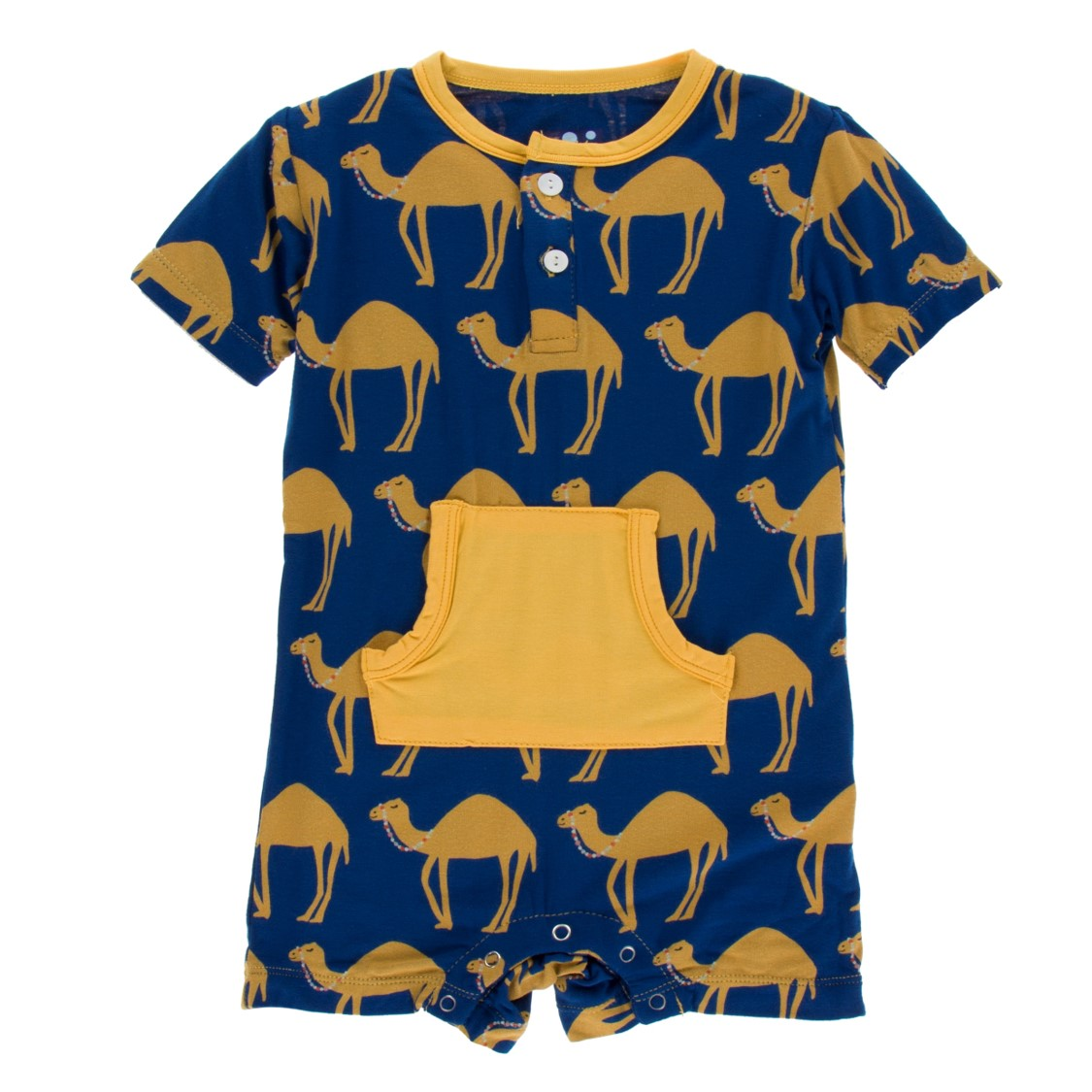 Kickee Pants - India Collection - Kangaroo Romper – Navy Camel