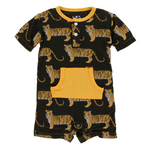 Kickee Pants - India Collection - Kangaroo Romper – Zebra Tiger