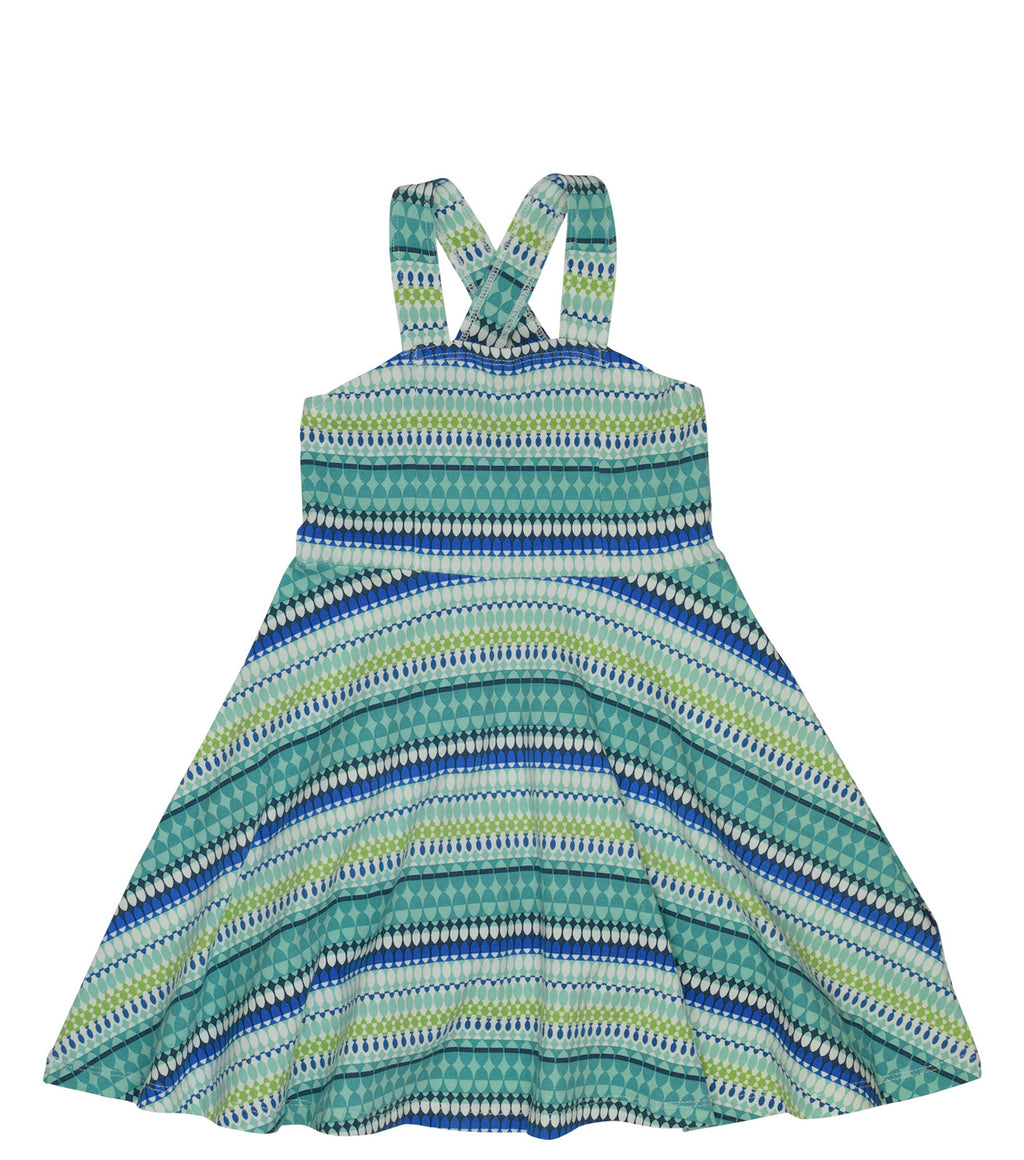 Toobydoo - Skater Dress - Geometric Blue/Green