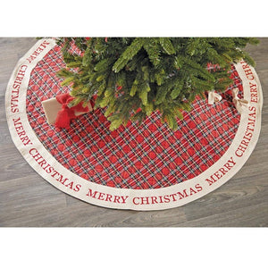 "Mud Pie 54""Merry Christmas Red Royal Stewart Tartan Plaid Tree Skirt"