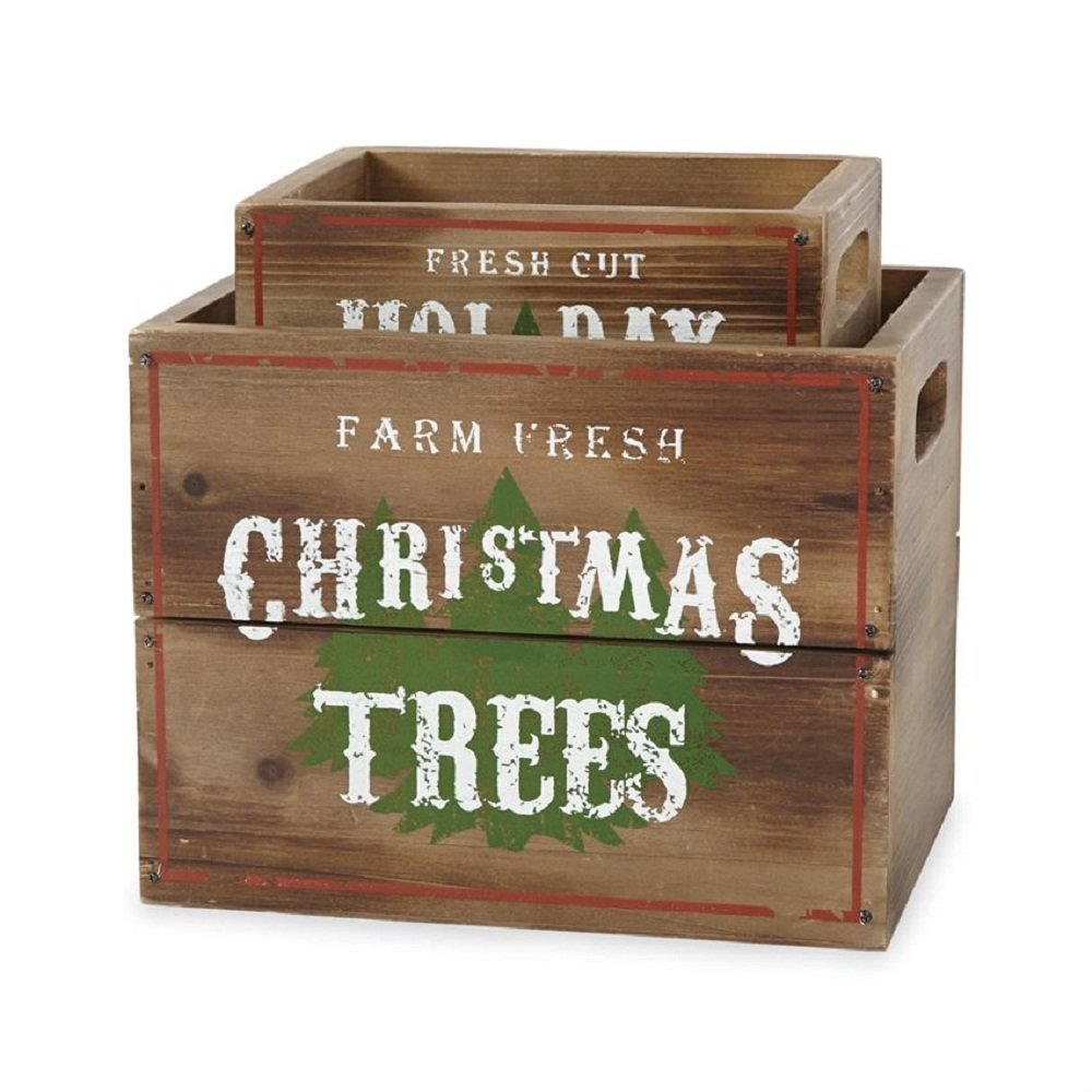 Mud Pie Wood Tree Crate Set of 2