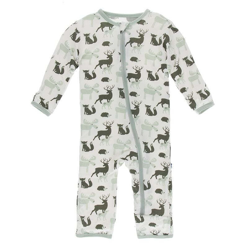 Kickee Pants - Zoology - Coverall with Zipper – Natural Forest Animals