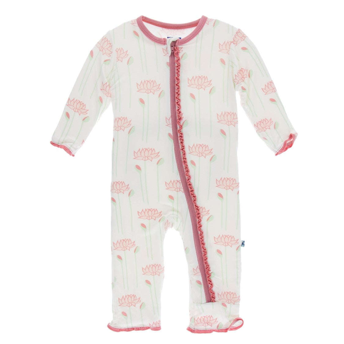 Kickee Pants - India Collection - Ruffle Coverall with Zipper – Natural Lotus Flower