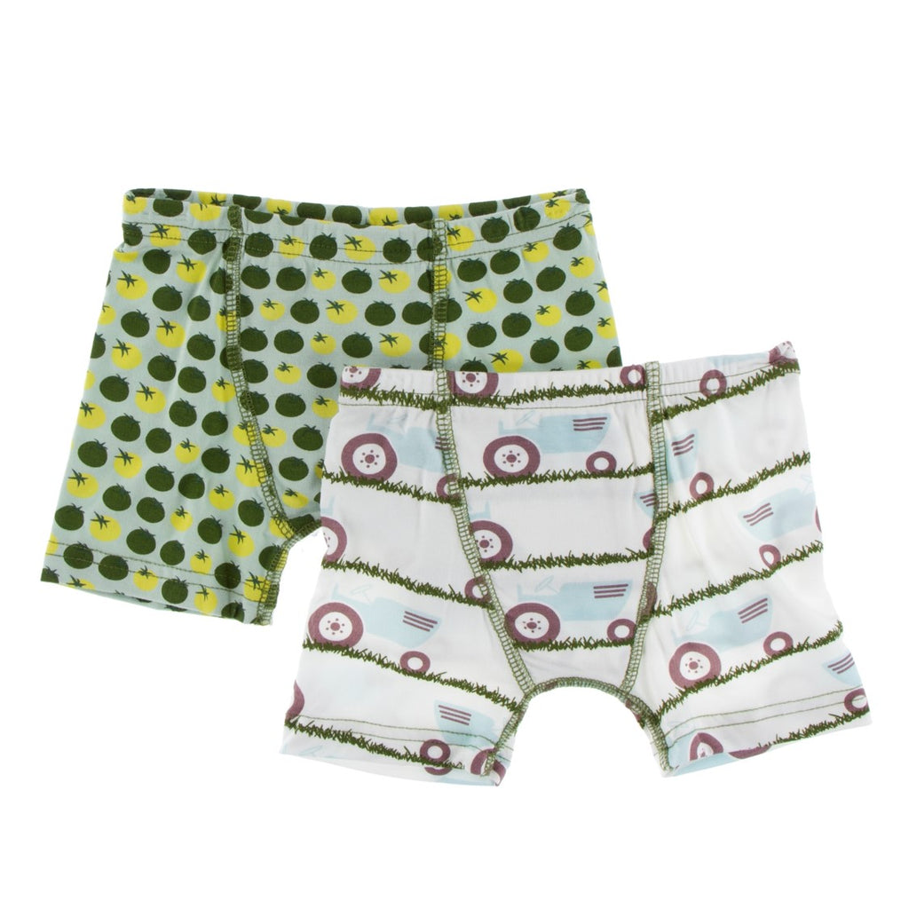 Kickee Pants - Spring 1 2019  - Boxer Brief Set - Natural Tractor and Grass & Aloe Tomatoes