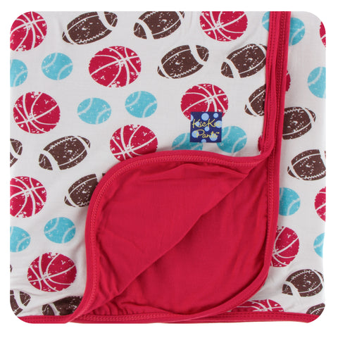Kickee Pants - Spring 2 2018 - Toddler Blanket - Natural Sports with Flag Red