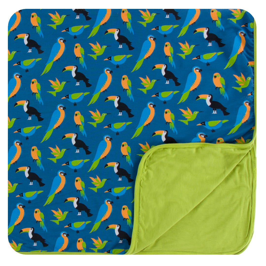 Kickee Pants - Spring 3 2018 - Toddler Blanket - Twilight Tropical Birds
