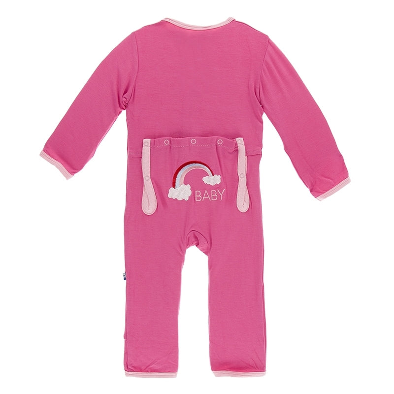 Kickee Pants - India Collection - Applique Coverall - Flamingo Rainbow Baby