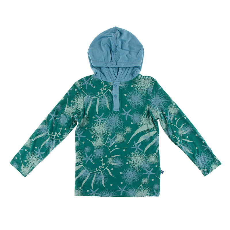 Kickee Pants - Oceanography Collection - Hoodie Tee - Ivy Sea Garden