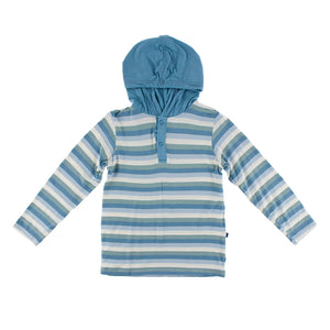 Kickee Pants - Oceanography Collection - Hoodie Tee - Oceanography Stripe