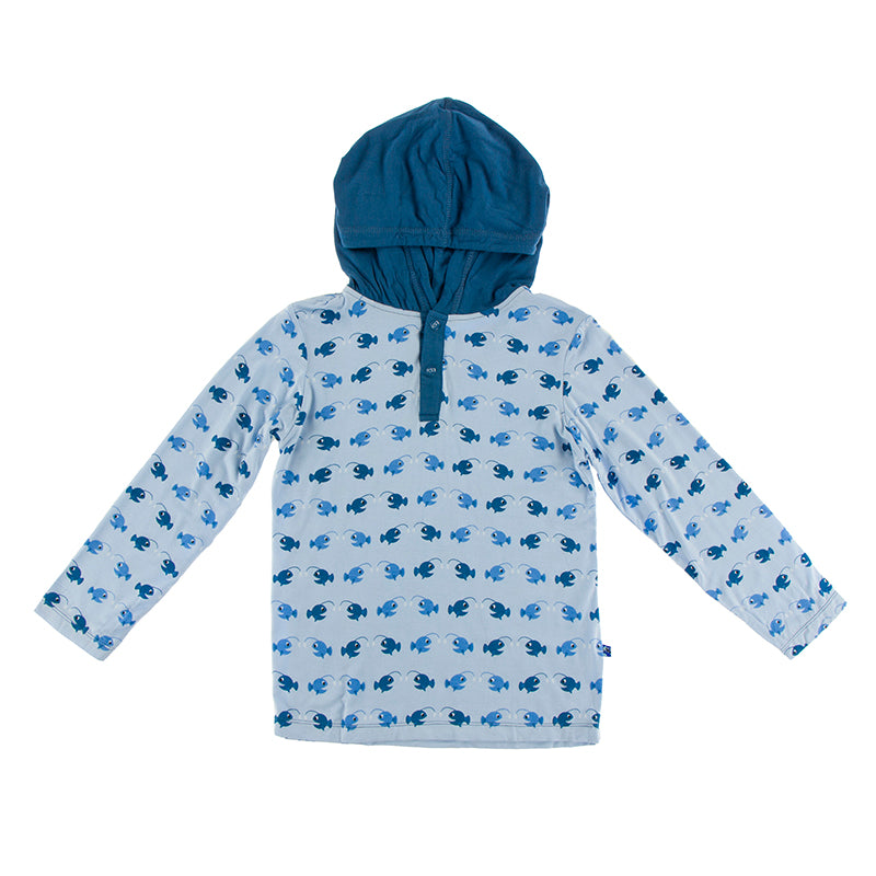 Kickee Pants - Oceanography Collection - HoodieTee - Pond Angler Fish