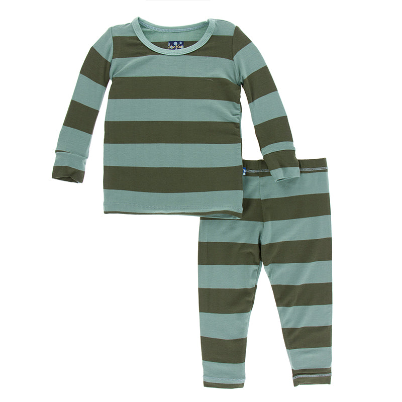 Kickee Pants - Paleontology Collection - Pajama Set - Fauna Stripe