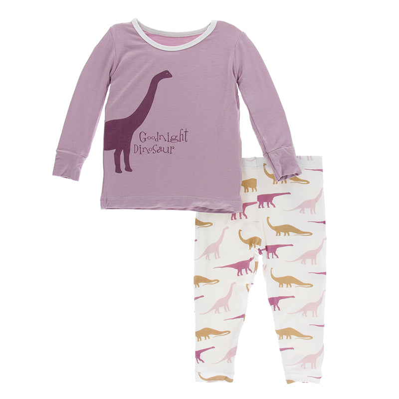 Kickee Pants - Paleontology Collection - Pajama Set - Natural Goodnight Dinosaur