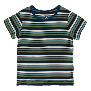 Kickee Pants - Botany Collection - Short Sleeve Easy Fit Tee - Botany Grasshopper Stripe