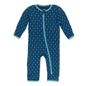 Kickee Pants - Botany Collection - Coverall with Zipper– Navy Leaf Lattice