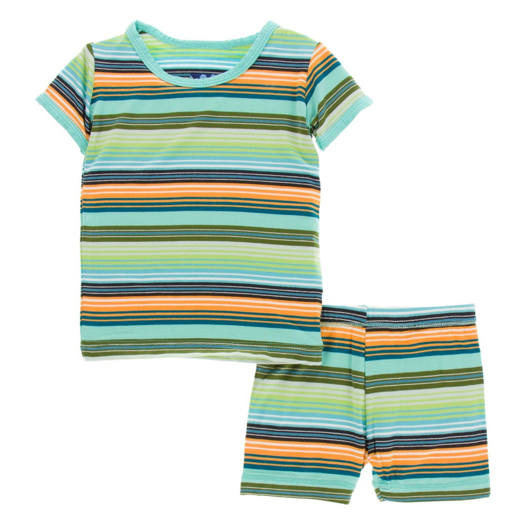 Kickee Pants - Cancun Collection - Pajama set with shorts – Cancun Glass Stripe