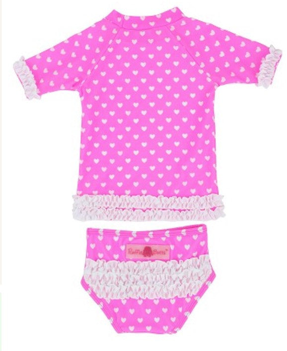 Ruffle Butts Hot Pink Heart Ruffled Rash Guard Bikini Set