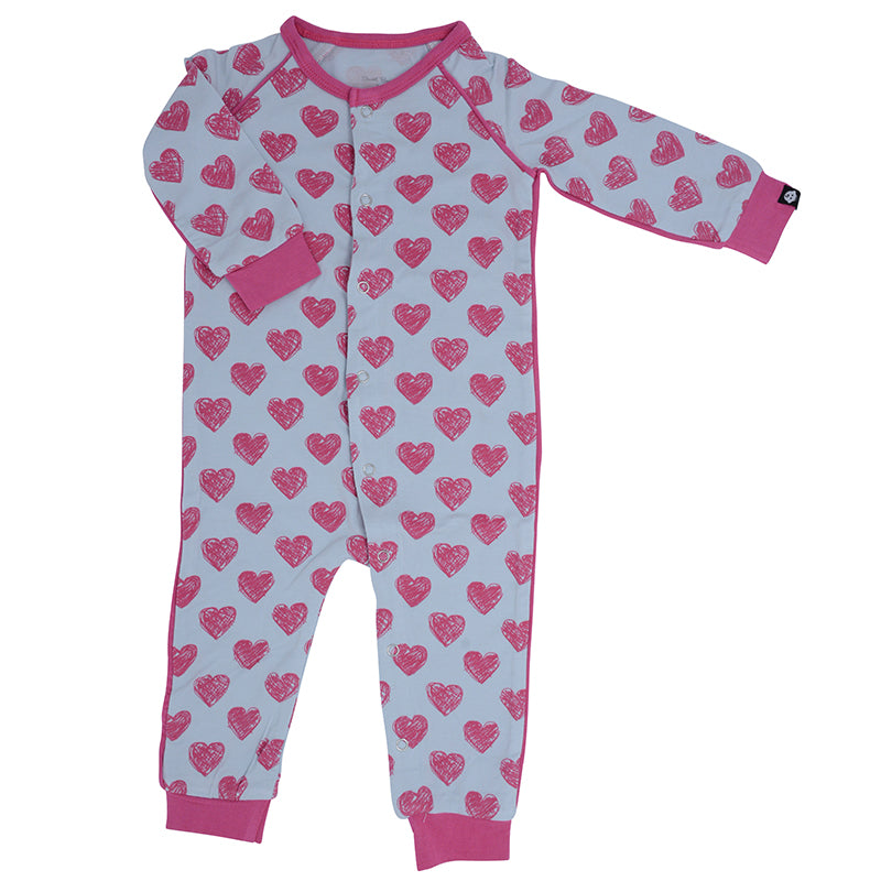 Sweet Bamboo - Piped Romper - Scribble Hearts