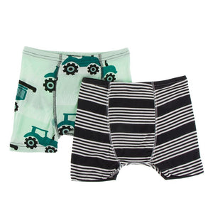 Kickee Pants - Agriculture Collection- Boxer Brief Set  – Pistachio Tractor & Zebra Agriculture Stripe