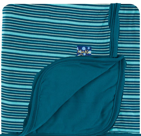 Kickee Pants - Spring 2 2018 - Toddler Blanket - Shining Sea Stripe with Heritage Blue