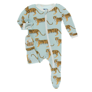 Kickee Pants - India Collection - Footie with Zipper – Spring Sky Tiger