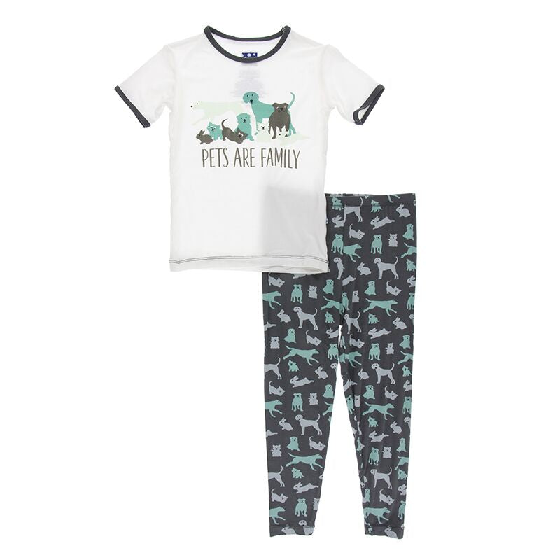 Kickee Pants - Zoology - Pajama Set - Stone Domestic Animals