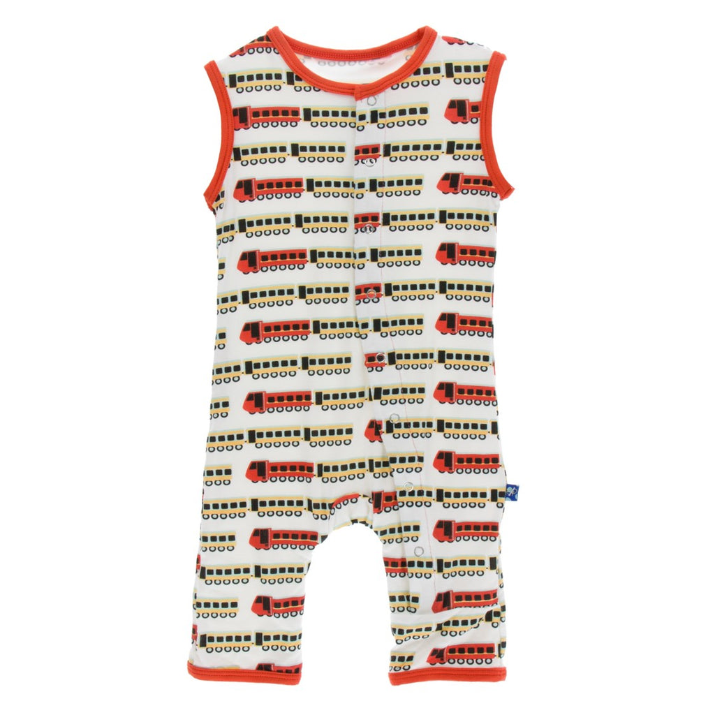 Kickee Pants - India Collection - Tank Romper –  Natural Indian Train