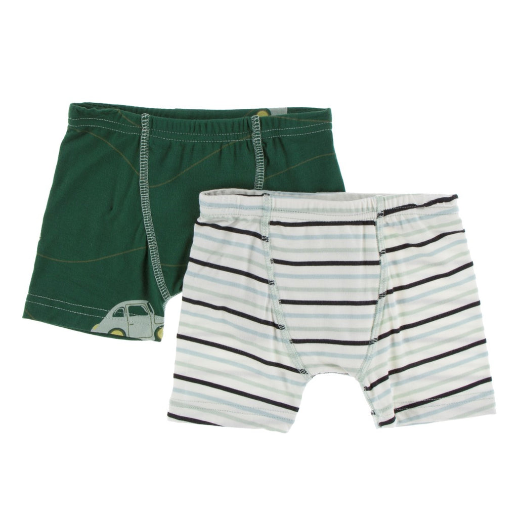 Kickee Pants - Spring 1 2019  - Boxer Brief Set - Topiary Italian Car and Tuscan Afternoon Stripe