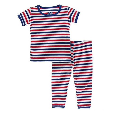 Kickee Pants - Spring 2 2018 - Pajama Set - USA Stripe