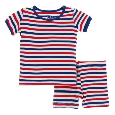 Kickee Pants - Spring 2 2018 - Pajama Set WITH SHORTS- USA Stripe