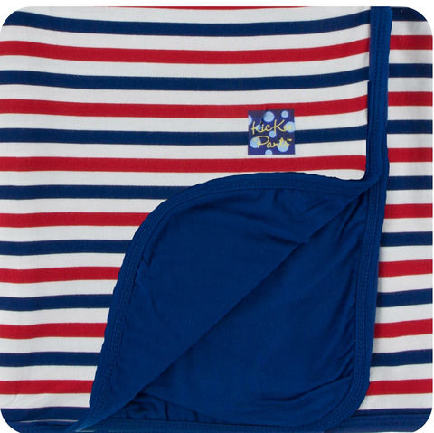 Kickee Pants - Spring 2 2018 - Toddler Blanket - USA Stripe with Flag Blue