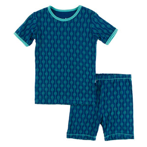Kickee Pants - Botany - Pajama Set WITH SHORTS- Navy Leaf Lattice - FINAL SALE
