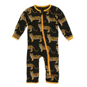 Kickee Pants - India Collection - Coverall with Zipper– Zebra Tiger