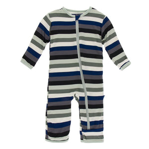 Kickee Pants - Zoology - Coverall with Zipper – Zoology Stripe